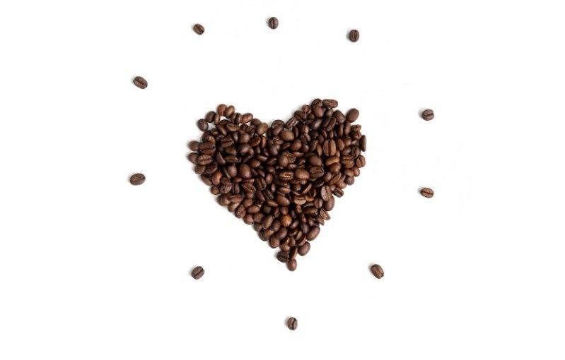 kalp şeklinde kahve çekirdekleri